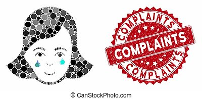 Collage Crying Woman Face with Textured Complaints Seal