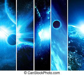 collage, cuadros, 5, planetas
