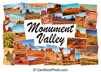 collage, cuadros, de, monument valley, arizona, estados...