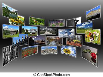 collage, cuadros, pantalla, de par en par