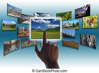 collage, cuadros, touchs, mano
