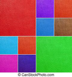 collage, cuir, fait, Arrière-plans, coloré
