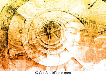 collage, cultura, asia