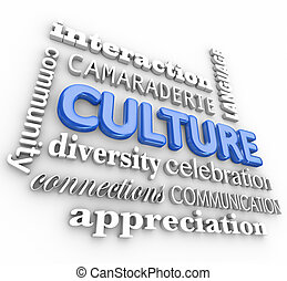 collage, cultura, comunicazione, diversità, lingua, interazione, comunità, parola, 3d