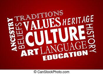 collage, culture, diversité, héritage, langue, mot, illustration, 3d