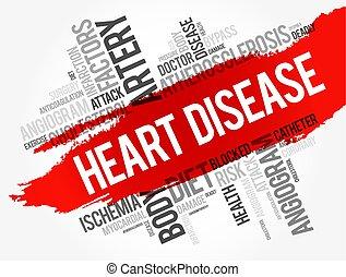 collage, cuore, parola, malattia, nuvola