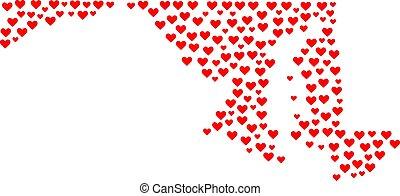 collage, cuore, stato, maryland progettano