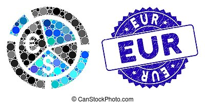 Collage Currency Diagram Icon with Textured EUR Seal