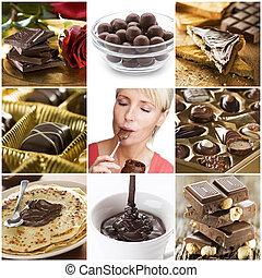 collage, czekolada