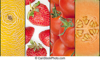 collage, cztery, sezonowy, owoce