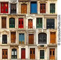 collage, dörrar