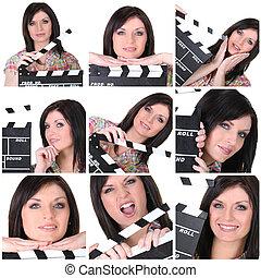 collage, de, a, femme, à, a, clapperboard