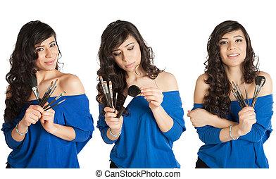 collage, de, a, femme, à, brosses maquillage