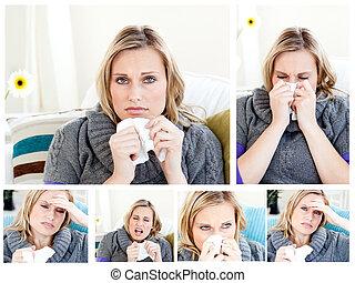 collage, de, a, femme, avoir, a, froid
