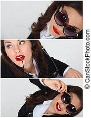 collage, de, a, femme, lunettes soleil port