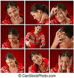 collage, de, a, jeune femme, fabrication visages