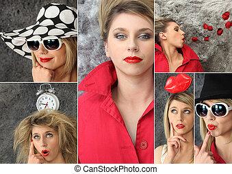 collage, de, a, mode, femme