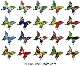 collage, de, africano, banderas, en, mariposas
