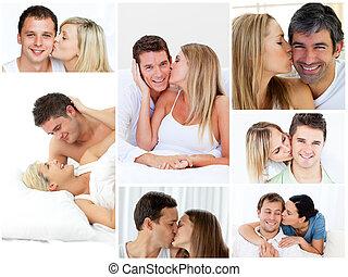 collage, de, agréable, couples, embrasser