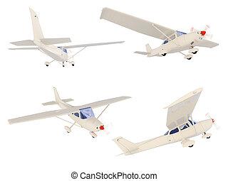 collage, de, aislado, avión pequeño