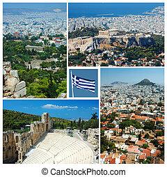 collage, de, atenas, señales, grecia