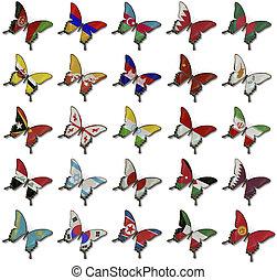 collage, de, banderas americanas, en, mariposas