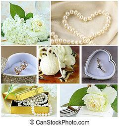 collage, de, boda, accesorios