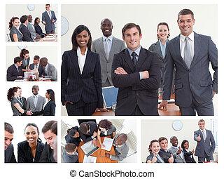 collage, de, businesspeople, poser, dans, différent,...