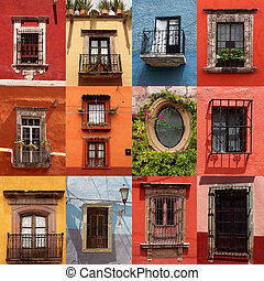 collage, de, colorido, mexicano, windows