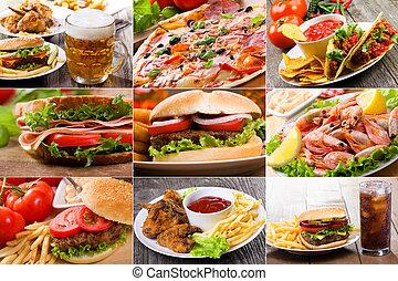 collage, de, comida rápida