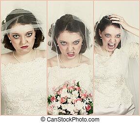 collage, de, désordre, mariées
