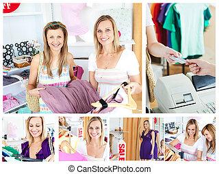 collage, de, deux, séduisant, femmes, faire, achats