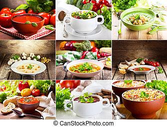 collage, de, divers, soupes
