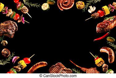 collage, de, divers, viande grillée, et, légumes