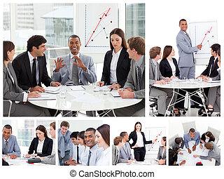 collage, de, empresarios, en, diferente, situaciones