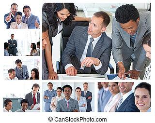 collage, de, empresarios, en el trabajo