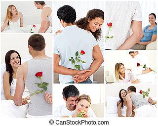 collage, de, encantador, parejas, el gozar, el, momento