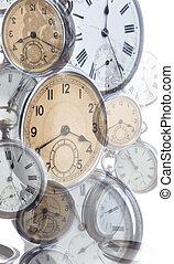 collage, de, estilo viejo, clocks
