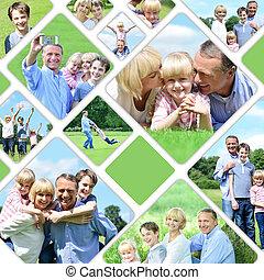collage, de, famille heureuse, images
