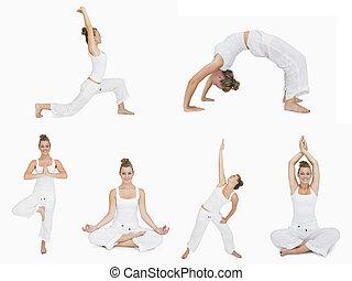 collage, de, femme, faire, yoga