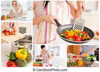 collage, de, femmes, cuisine