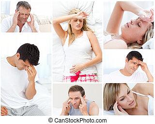 collage, de, gens malades
