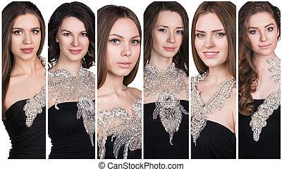 collage, de, hermoso, joven, women.