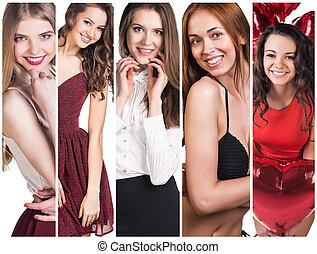 collage, de, hermoso, mujeres jóvenes