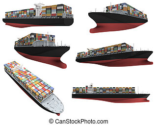 collage, de, isolé, bateau