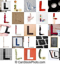 collage, de, letra l