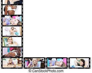 collage, de, mignon, femmes délasser