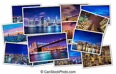collage, de, nueva york, fotos
