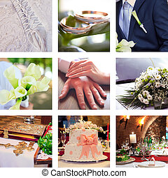 collage, de, nueve, boda, fotos
