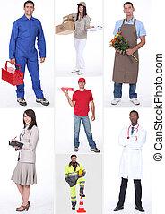 collage, de, ocupaciones